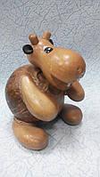 Статуэтка-копилка Бегемот деревянный размер 18*10