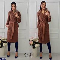 Прямое кашемировое пальто с поясом, цвет шоколад.   Арт- 18004