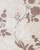 EDEM 116-23 дизайнерские обои с цветами | бежевые какао-коричневые с белыми и серебристыми деталями орнамента