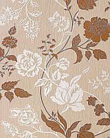 EDEM 116-24 дизайнерские обои с цветами | коричневые бежево-красные с белыми и серебристыми деталями орнамента
