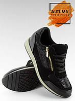 02-19 Черные женские кроссовки 1280-2 37,36