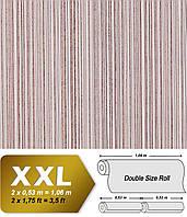 EDEM 673-93 дизайнерские флизелиновые обои в полоску | шоколадно-коричневые с белыми и серебристыми полосами 10,65 кв м