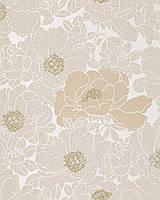 EDEM 025-23 дизайнерские цветочные обои с гармоничным сочетанием цветов | бежевые жемчужные какао-коричневые бронзовые