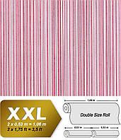 EDEM 673-96 дизайнерские флизелиновые XXL обои в полоску | вишнево-красные с белыми и серебристыми полосами | 10,65 кв м