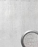 WallFace 13520 CROCO панель настенная самоклеящаяся из искусственной крокодиловой кожи серо-серебряная | 2,60 м