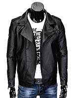 Мужская байкерсая куртка косуха с черной фурнитурой
