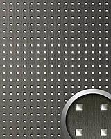 WallFace 12557 3D QUAD панель настенная самоклеящаяся с выпуклым геометрическим рисунком серебряно-серая   2,60 м
