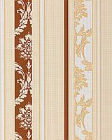 EDEM 053-21 дизайнерские обои в полоску в стиле барокко дамаск бежево-коричнвые белые