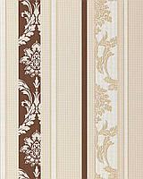 EDEM 053-23 дизайнерские обои в полоску в стиле барокко дамаск шоколадно-коричневые пастельные бежево-белые