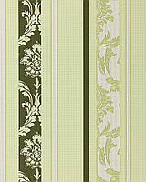 EDEM 053-25 дизайнерские обои в полоску в стиле барокко дамаск темно-зеленые пастельно-салатовые белые