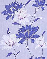 EDEM 168-32 дизайнерские обои для стен с цветочным орнаментом кобальтовые фиолетово-голубые бело-серебристые