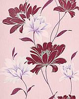 EDEM 168-34 дизайнерские обои для стен с цветочным орнаментом красно-фиолетовые розово-белые лилово-серебристые