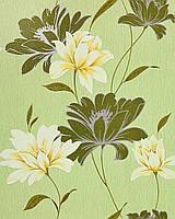 EDEM 168-35 дизайнерские обои для стен с цветочным орнаментом темно-зеленые салатовые бело-желтые серебристые