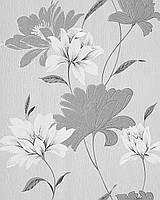 EDEM 168-36 дизайнерские обои для стен с цветочным орнаментом темно-серые серо-белые серебристые