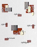 EDEM 062-20 дизайнерские обои для кухни с кофейным орнаментом и кафельной структурой коричневые черные серебристые
