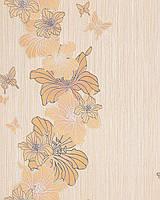 EDEM 108-31 дизайнерские обои для стен с цветочным орнаментом и бабочками пастельно-бежевые бело-серебристые