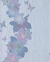 EDEM 108-34 дизайнерские обои для стен с цветочным орнаментом и бабочками бело-лиловые сине-голубые серебристые
