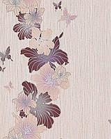 EDEM 108-33 дизайнерские обои для стен с цветочным орнаментом и бабочками бежевые коричневые фиолетовые