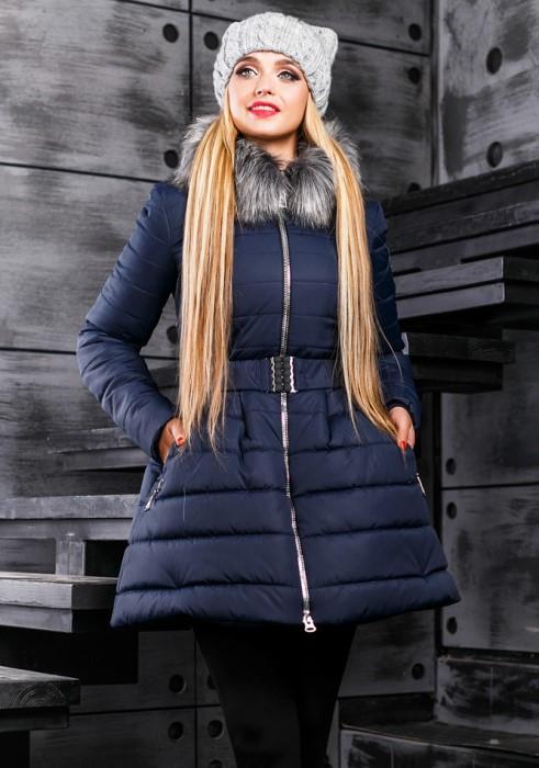 Ультрамодная зимняя курточка синего цвета с пышной юбкой