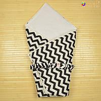 Демисезонный конверт-одеяло на выписку «Вернисаж» (Серый зигзаг), Omali