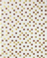 EDEM 1022-13 рельефные обои с квадратной мозаикой обои для кухни и ванной | бежевые золотистые с серебристыми деталями