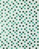 EDEM 1022-15 рельефные обои с квадратной мозаикой обои для кухни и ванной | зеленые бирюзовые изумрудные с серебристыми деталями