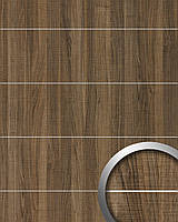 WallFace 19100 NUTWOOD COUNTRY самоклеящаяся настенная панель под дерево с металлическими полосами декор орех настенное покрытие коричневое 2,60 м2