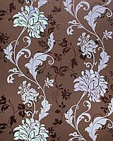 Цветочные обои EDEM 833-26 благородный цветочный дизайн цветы листья цвет коричневый, сиреневый, фиолетовый, мята 70 см