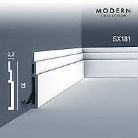 Плинтус Orac Decor SX181 MODERN HIGH LINE декоративный молдинг в стиле модерн белый 2 м