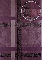 Обои в полоску Atlas 24C-0605-2 флизелиновые обои гладкие с геометрическим орнаментом и с металлическими акцентами лиловые пастельно-фиолетовые медные