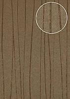 Обои в полоску Atlas COL-665-0 флизелиновые обои гладкие дизайнерские обои переливающиеся коричневые терракотовые бежево-коричневые золотые 5,33 м