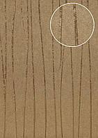 Обои в полоску Atlas COL-765-1 флизелиновые обои гладкие дизайнерские обои переливающиеся коричневые цвета хаки золотые 5,33 м