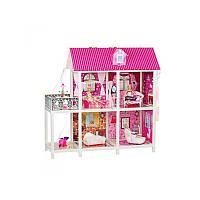 Домик 66884 (6шт) 101,5-41-105см, 2этажа, куклы 3шт 28см, мебель, в кор-ке, 83,5-36-14,5см