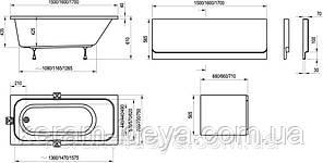 Ванна акриловая RAVAK CHROME 150x70 C721000000, фото 3
