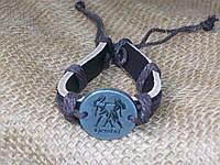 Женский кожаный браслет знаки зодиака БЛИЗНЕЦЫ, ручная работа