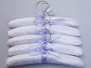 Плечики детские сатиновые мягкие нежно-сиреневые, 25 см, 5 штук в упаковке