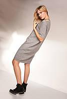 Платье свободного силуэта с люрексовыми полосками  и ассиметричным разрезом