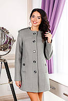 Пальто женское шерстяное  демисезонное MIYA цвет Серый