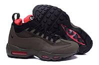 Кроссовки кожаные на высокой подошве Nike Air Max 95 Sneakerboot Dark Brown/Red