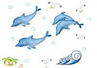 Интерьерная наклейка для ванной комнаты Дельфины