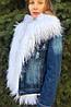 Джинсовка женская с белым мехом ламы