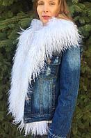 Джинсовка женская с белым мехом ламы , фото 1