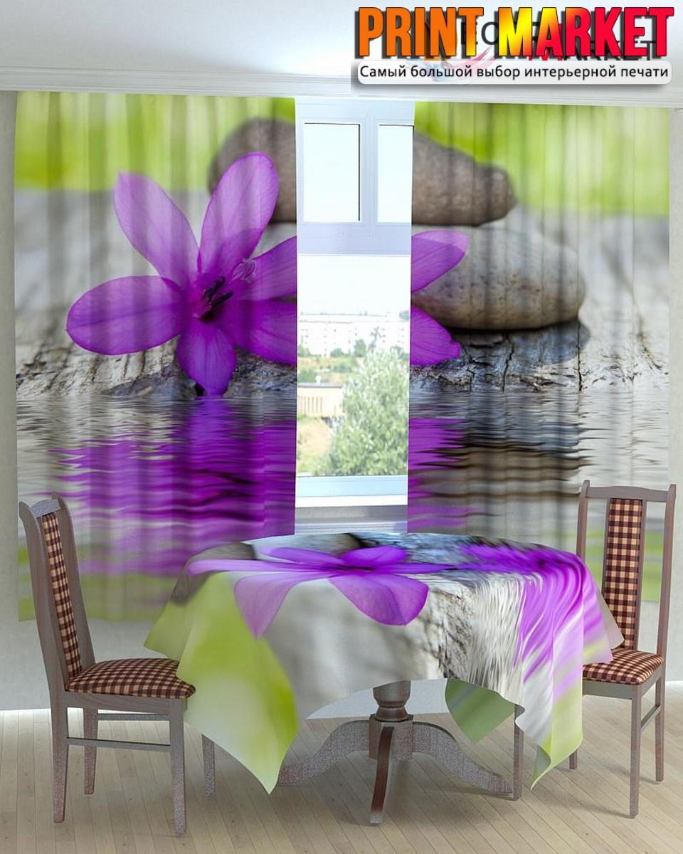 Фотошторы для кухни цветок и камни