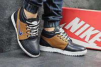 Мужские кроссовки Nike. Кожа Меж 100% Синие с бежевым. Размер 40 41 42 43 44 45