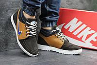 Мужские кроссовки Nike. Кожа Замша Меж 100% Черные с бежевым. Размер 40 41 42 43 44 45