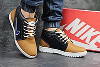 Мужские кроссовки Nike. Кожа Замша Меж 100% Бежевые с синим. Размер 40 41 42 43 44 45