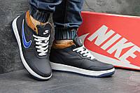Мужские кроссовки Nike. Кожа Меж 100% Синие с бежевым верхом . Размер 40 41 42 43 44 45