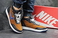 Мужские кроссовки Nike. Кожа Замша Меж 100% Синие с бежевым. Размер 40 41 42 43 44 45