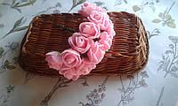 Роза з фоамірану 2-2,5см  розовий колір