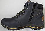 Детские зимние  в стиле Caterpillar сапоги кожа ботинки САТ мех теплые качественные черные, фото 7
